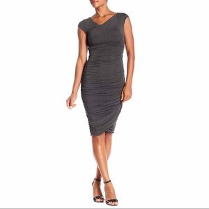 Bailey 44 Reily Ruched Jersey Grey Dress Size M